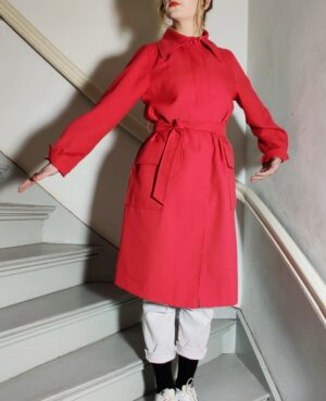 Red vintage trench coat
