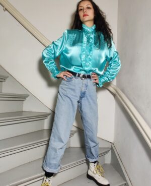 Mint the blouse 80's sequins and a collar